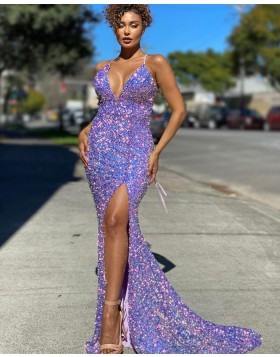 Spaghetti Straps Blue Sequin Mermaid Prom Dress with Side Slit PD2135