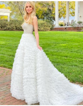 Strapless Beading Bodice Prom Dress with Ivory Ruffle Skirt PD2136