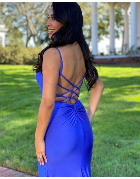 Simple Spaghetti Straps Blue Satin Mermaid Prom Dress PD2137