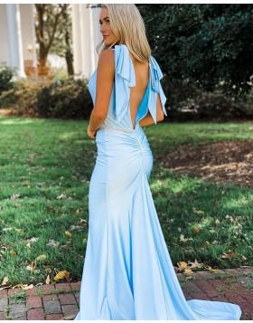 Simple V-neck Light Blue Mermaid Prom Dress with Beading Belt PD2138