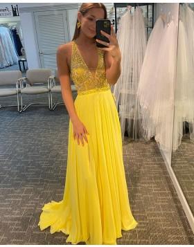 V-neck Beading Bodice Yellow Chiffon Prom Dress PD2141