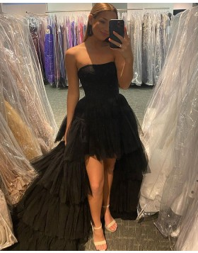 High Low Strapless Black Tulle Prom Dress with Layered Skirt PD2142