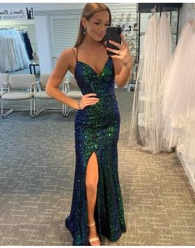 Spaghetti Strap Dark Green Sequin Mermaid Prom Dress with Side Slit PD2143