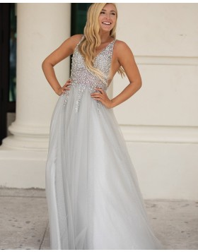 Silver V-neck Beading Bodice Tulle A-line Prom Dress PD2145