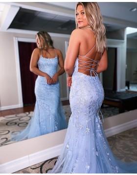 Spaghetti Straps Applique Lavender Mermaid Prom Dress PD2146