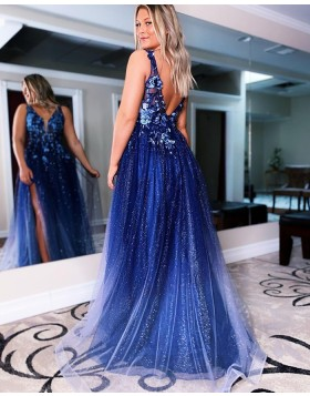 V-neck Navy Lace Applique Sequin Tulle Prom Dress with Side Slit PD2147