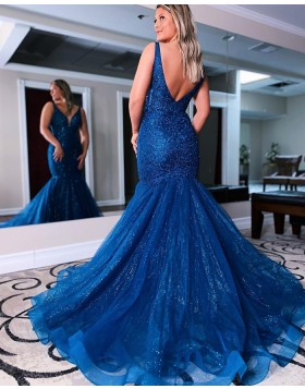 V-neck Blue Beading & Sequin Mermaid Prom Dress PD2148
