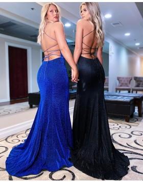 Spaghetti Straps Blue Velvet Mermaid Prom Dress with Side Slit PD2150