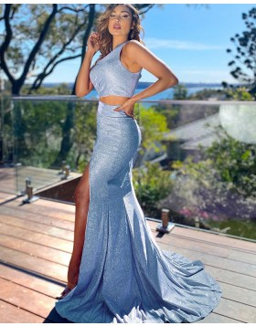 One Shoulder Two Piece Light Blue Sparkle Sequin Mermaid Prom Dress with Side Slit PD2152