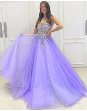 V-neck Beading Bodice Lavender Tulle Prom Dress PD2157