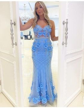 Spaghetti Straps Light Blue Beading Mermaid Prom Dress with 3D Flowers PD2160