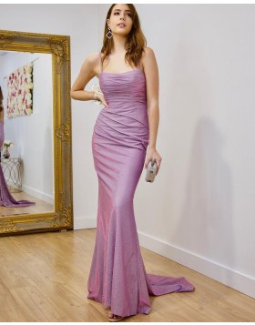 Simple Square Sparkle Lavender Ruched Mermaid Prom Dress PD2165