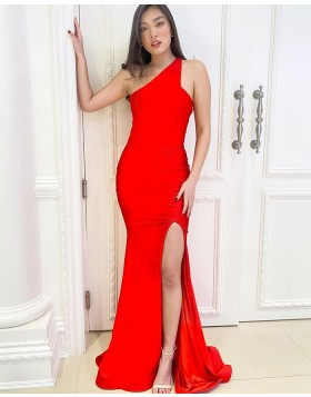 Simple One Shoulder Red Satin Mermaid Prom Dress with Side Slit PD2167
