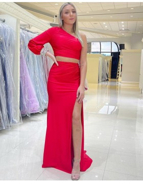 Two Piece One Shoulder Beading Red Long Sleeve Mermaid Prom Dress with Side Slit PD2170