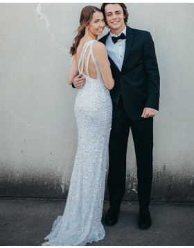 One Shoulder Beading White Mermaid Prom Dress with Side Slit PD2177