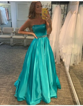 Strapless Simple Satin A-line Prom Dress with Beading Waist PD2178