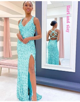 Silver V-neck Sequin Mermaid Prom Dress with Side Slit PD2179