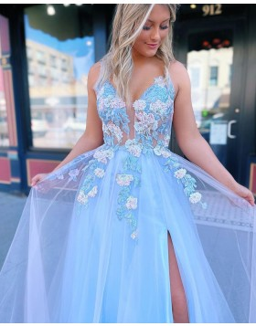 Spaghetti Straps Dusty Blue Applique Tulle Formal Dress with Side Slit PD2180