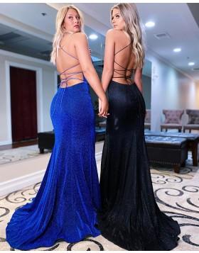 Spaghetti Straps Velvet Blue Mermaid Prom Dress with Side Slit PD2182