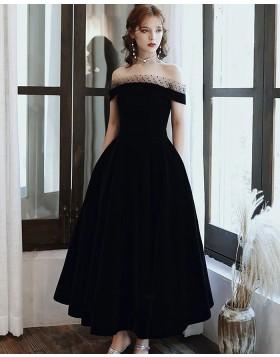 Off the Shoulder Black Ankle Length Satin Formal Dress with Pockets PD2186