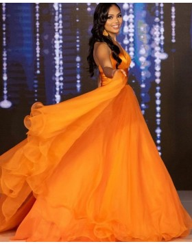 Simple Halter Orange Pleated Tulle A-line Formal Dress PD2189