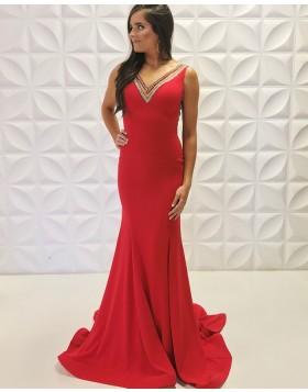 V-neck Beading Satin Red Mermaid Formal Dress PD2191