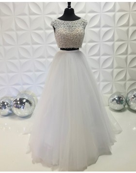 Two Piece White Jewel Neckline Beading Bodice Prom Dress with Tulle Skirt PD2192