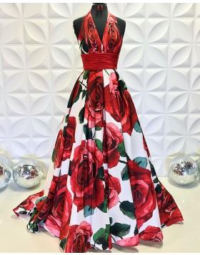 Halter Rose Print Satin A-line Formal Dress PD2196