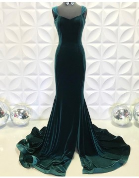 Square Neckline Velvet Dark Green Mermaid Formal Dress with Side Slit PD2197