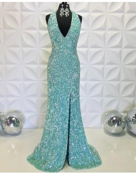 Lake Blue Sequin V-neck Mermaid Formal Dress with Side Slit PD2198