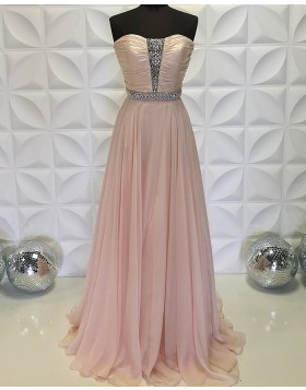 Strapless Beading Bodice Ruched Chiffon Dusty Pink Formal Dress PD2199