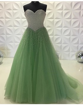 Sweetheart Long Olive Beading Bodice Tulle Prom Dress PD2201