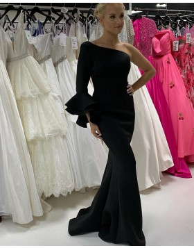 One Shoulder Black Satin Mermaid Prom Dress with Long Sleeves PD2202