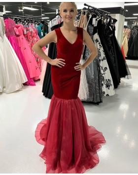 V-neck Red Velvet Mermaid Long Formal Dress with Tulle Skirt PD2203