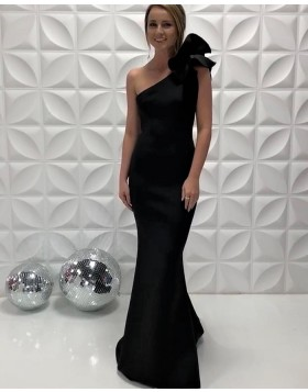 Simple One Shoulder Satin Black Mermaid Prom Dress  PD2204