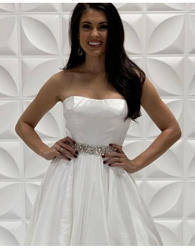 Strapless White Satin A-line Formal Dress with Beading Sashes PD2205