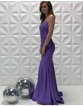 Spaghetti Straps Purple Satin Ruched Mermaid Prom Dress PD2206