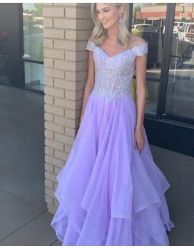 V-neck Lavender Applique Bodice Tulle Prom Dress PD2209