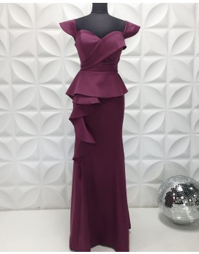 Square Neckline Egg Plant Satin Formal Dress with Cap Sleeves PD2211