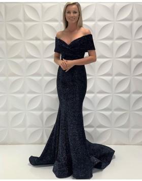 Simple Off the Shoulder Black Mermaid Satin Prom Dress PD2213