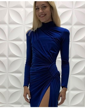 High Neck Blue Ruched Satin Long Sleeves Prom Dress with Side Slit PD2215