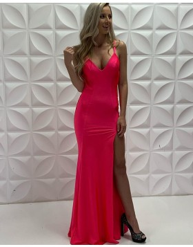 Simple Spaghetti Straps Red Satin Mermaid Prom Dress with Side Slit PD2218