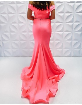 Off the Shoulder Two Piece Coral Pink Satin Simple Mermaid Prom Dress PD2223