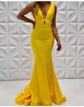 V-neck Yellow Satin Mermaid Simple Long Prom Dress PD2224