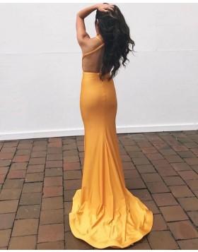 Orange V-neck Satin Mermaid Simple Prom Dress PD2225