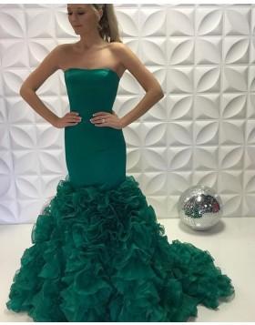 Strapless Green Satin Ruffled Mermaid Long Prom Dress PD2226