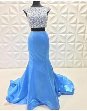 Two Piece Beading Bodice Sky Blue Mermaid Prom Dress PD2227