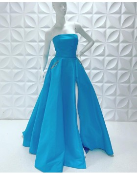 Strapless Satin Simple Side Slit Prom Dress with Beading Pockets PD2229