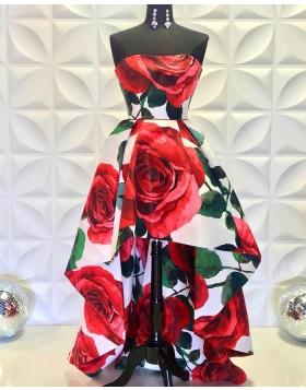 Strapless High Low Rose Print Prom Dress PD2231