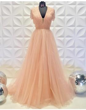 V-neck Beading Bodice Blush Pink Tulle A-line Prom Dress PD2235
